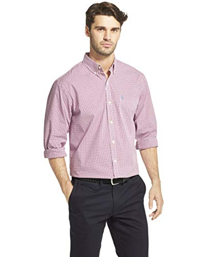 (IZOD Men's Button Down Long Sleeve Stretch Performance Gingham Shirt, Hollyhock, Large)