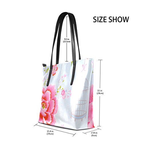 Fashion Top Handle Birdcage Floral TIZORAX Purses PU Totes Leather Bags Shoulder Handbag Women's Xafq1p