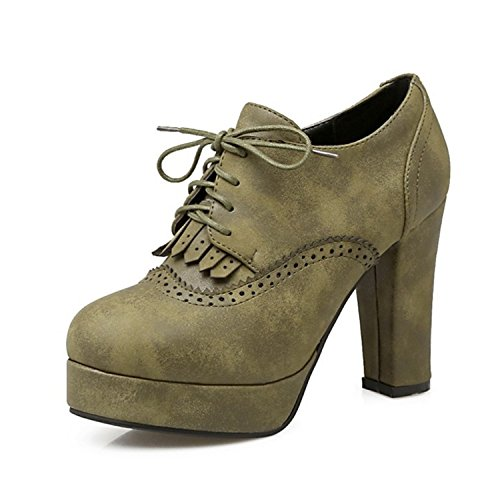 Price comparison product image Baqijian Sexy Women Gladiator T Straps Square High Heel Shoes Party Wedding Platform Pumps Green 7.5