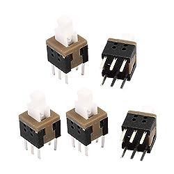 uxcell 5Pcs 6 Pins Square 5.8mmx5.8mmx10mm Self-Locking DPDT Mini Push Button Switch