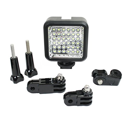 Action Mount - LED Video Light Add-On for Dual Device Camera Setup for Video Recording with Phone - GoPro - or Point-and-Shoot Camera. Extension Parts - Screw Adapter - and Light. (LED Light - Add on)