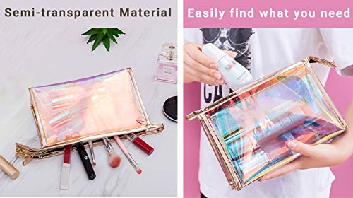 WestonBasics Holographic Makeup Bag, Set of 2 Iridescent Makeup Pouch for Cosmetic Toiletry, Pencil, Brush, Makeup Organizer Bags for Women Girls, Teens, Bridesmaids, Great for Travel, Gifts, 2 PCS
