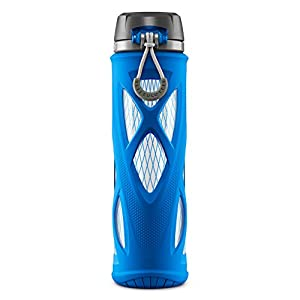 Zulu Atlas Glass Water Bottle with Flip Lid, Blue, 20 oz