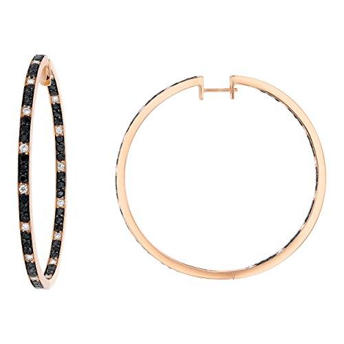 Olivia Paris 14K Rose Gold Black and White 2 1/3 Carat ctw Diamond Hoop Earrings (H-I, SI1-SI2), 1.8