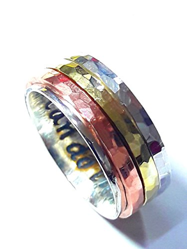 - Sterling 925 silver ring with 3 spinner tricolor rings of copper, silver and brass with faceted hammered texture; anxiety ring with personalized text.