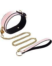 Wiftms Halsband sm sex erotische harnas met lijn harnas harnas collier boeien ketting nacht oplichtend nieuwe stijl bondage fetisch seksspeelgoed verstelbaar (roze)