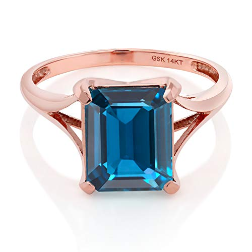 Gem Stone King 14K Rose Gold London Blue Topaz Women s Solitaire Ring 4.00 Ct Emerald Cut Available 5,6,7,8,9