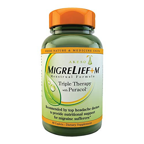 MigreLief+M - Nutritional Support for Women Suffering Menstrual Migraine - 60 Caplets/1 Month Supply (Best Treatment For Menstrual Migraines)