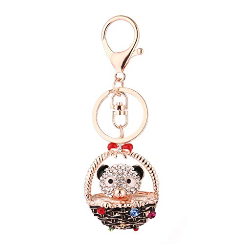 (wintefei Lovely Bowknot Basket Bear Keychain Pendant Women Jewelry Key Ring Bag Decor - B;ack)