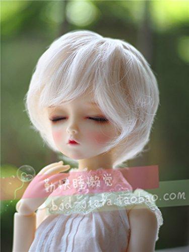 BJD Doll Wig 7-8inch (17-18.5cm): 1/4 BJD MSD, Fur Wig Dollfie / White Curl Short Hair