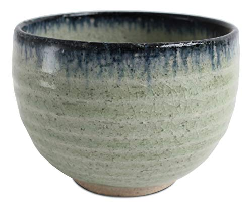 Navy Pottery (Mino ware Japanese Pottery Large Bowl Mint Green & Navy Crackled (Matcha/Rice) made in Japan (Japan Import) MSB003)