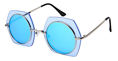 Edge-I-Wear Hexagon Shaped Women Metal Fshion Sunglasses Full Mirrored Lens W/Fiber Case M3164-FLRV-3 - S Women Sunglasses Shield