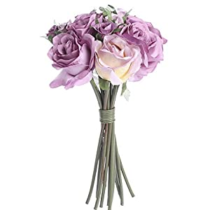 Factory Direct Craft Lavender Artificial Rose Nosegay Bouquet - 12 Blooms 103