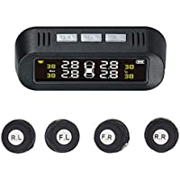 Nrpfell Tpms Solar Power Universal, Tire Pressure Monitoring System with 4 External Sensors,Real-Time Displays 4 Tires'Pressure and Temperature
