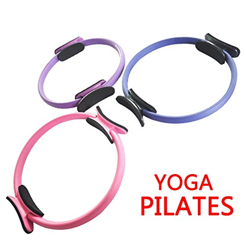 Sunshay Pilates Ring Premium Exercise Fitness Circle To Sculpt, Shape, Burn Belly Fat & Tone Abs, Legs, Arms & Thighs Total Body Gym, Yoga Resistance Training