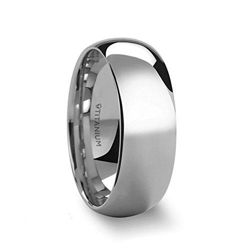 THORSTEN - PETERSON Plain Dome Style High Polish Finish Titanium Wedding Ring Comfort Fit Lightweight Durable Wedding Band - 8mm (Titanium Dome Band)