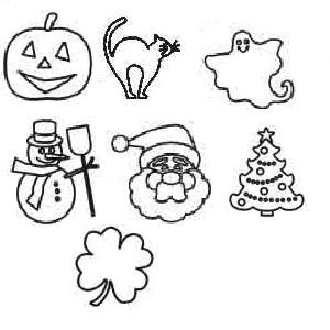 Holiday Burpo Rubber Stamps, Snazaroo, for Face and Body Paint, Halloween, Christmas and St. Patrick's Day