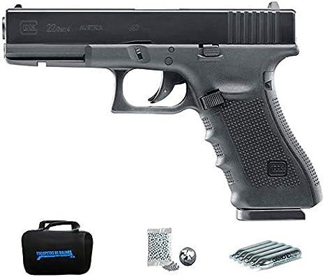 Glock 22 Gen 4 | Pack Pistola de balines (perdigones Bolas de Acero BB's) con maletín. Arma de Aire comprimido CO2 Calibre 4,5mm <3,5J