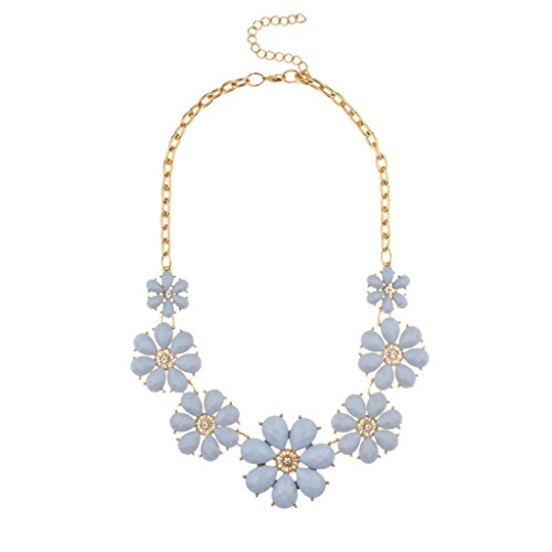 (Lux Accessories Pastel Enamel Blue Pave Flower Bib Statement Floral Chain Necklace)