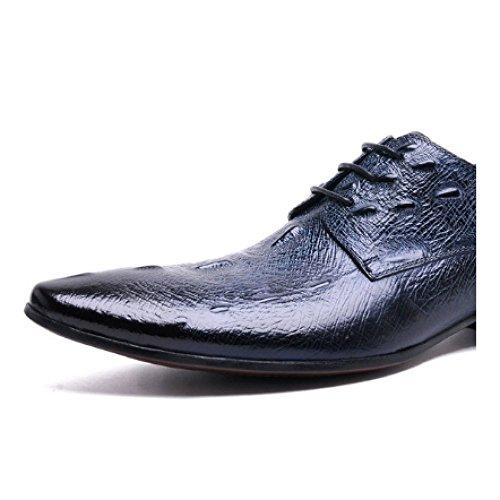 Scarpe NIUMJ Comodo Ufficio in di Appuntito Blue Coreane Scarpe Tendenza Traspirante da Pelle Scarpe Uomo Indossabile qYfrwY6xtP