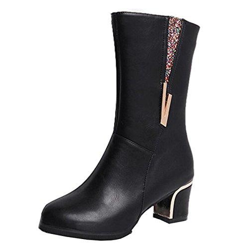 Mashiaoyi Women's Round-Toe Mid-Calf Block Heel Zip Chelsea Boots Black 22XoIzv