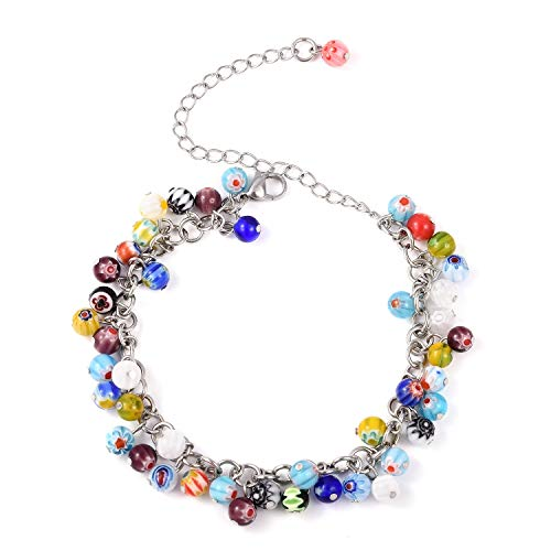 "Multi Color Millefiori Glass Anklet Ankle Bracelet for Women and Girls Size 11"" Hypoallergenic from Shop LC Delivering Joy"