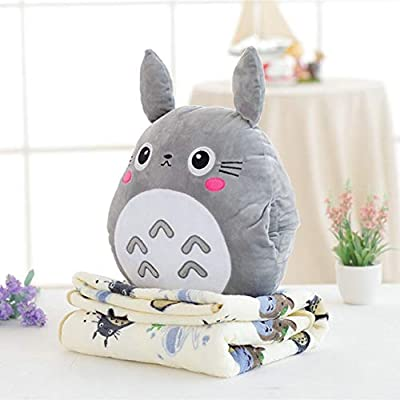 Pinkyo Shop Soft Plush Toys for Toddlers Japan Totoro Plush Pillow with Soft Flannel Blanket Stuffed Hand Warmer Stuffed Toys for Children Bedroom Cushion for Girlfriend-Grey Totoro: Kitchen & Dining