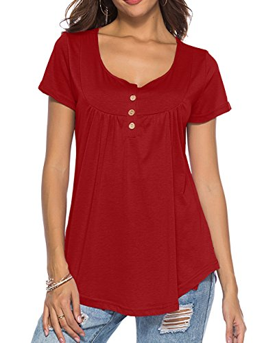 Womens Tops and Blouses Short Sleeve Tunics Plus Size Summer Shirts Red XXL