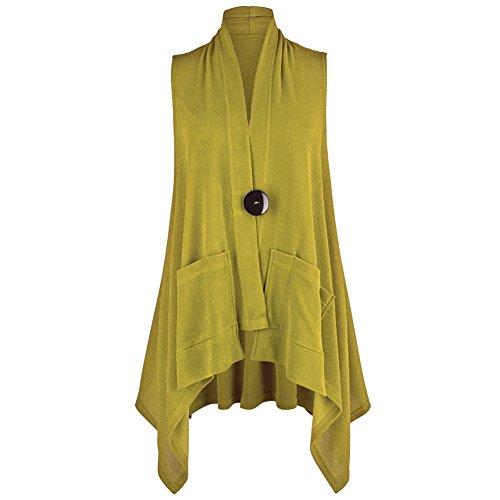 CATALOG CLASSICS Women's Big Button Vest - Citron - XXL