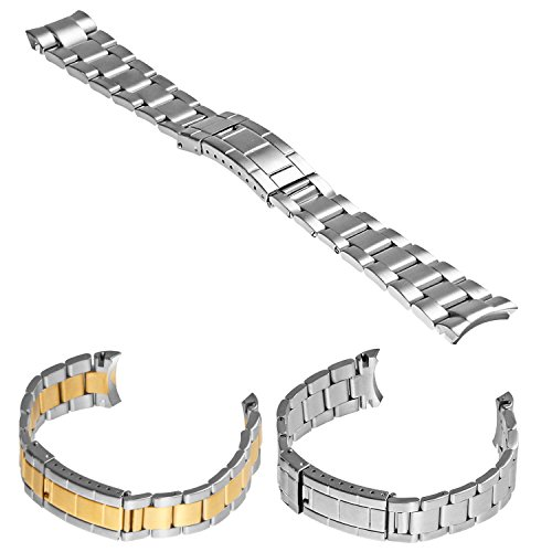 StrapsCo Brushed Stainless Steel Oyster Watch Band Curved End Strap for Rolex Size 20mm