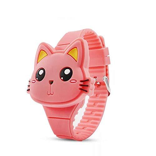 MINILUJIA Kids Boys Girls Digital Watch Cute Rabbit Cat Clamshell Design Led Sport Watch (cat Watermelon red) ()