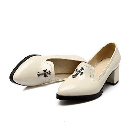 VogueZone009 Damen Eingelegt PU Leder Mittler Absatz Spitz Zehe Ziehen auf Pumps Schuhe Cremefarben