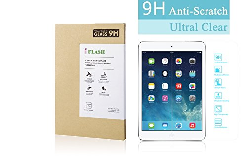 iFlash Premium Tempered Glass Screen Protector: Crystal Clear & Bubble Free 0.3mm Thickness Edition - for Apple iPad Air/iPad Air 2 with Retina Display (iPad 5th / 6th Generation) - Retail Packaging