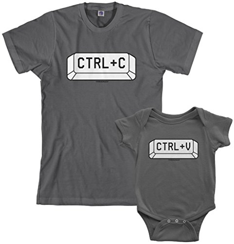 Threadrock Copy and Paste Infant Bodysuit & Men's T-Shirt Matching Set (Baby: 6M, Charcoal|Men's: L, Charcoal)