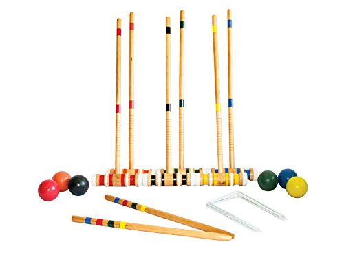 Triumph 6-Player Beginner Backyard Croquet Set Includes 6 Wood Mallets, 6 Balls, and Carry Bag