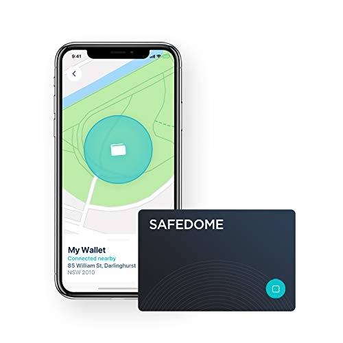 Safedome Classic Bluetooth Lost Item Tracker Card, Water-Resistant Item Finder with GPS-Like Tracking, World's Thinnest Bluetooth Card Fits Any Wallet or Purse, Tracking Device with Companion App
