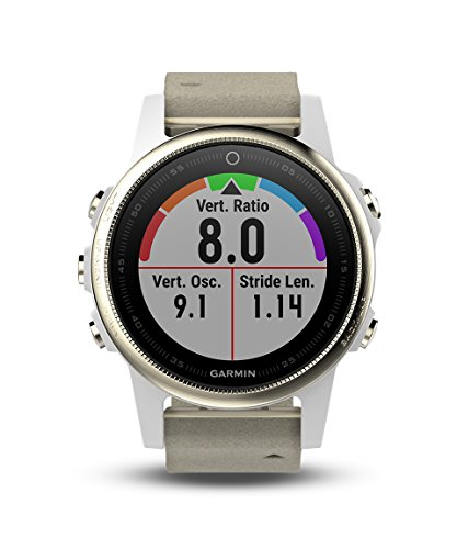 Garmin fnix 5S Sapphire GPS Heart Rate Monitor Watch Champagne with Gray Suede Band 010-01685-12