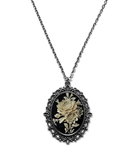 (Victorian Vault Rose on Black Cameo Gothic Victorian Steampunk Pendant on Chain)