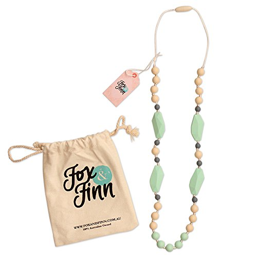 Rubber Necklace Round (Fox and Finn 'Mackenzie' Silicone Teething Necklace for Babies | Safety Knotted Silk Rope | Does Not Pull Out Hair | 14 Inch Drop (mint + smoke + latte))