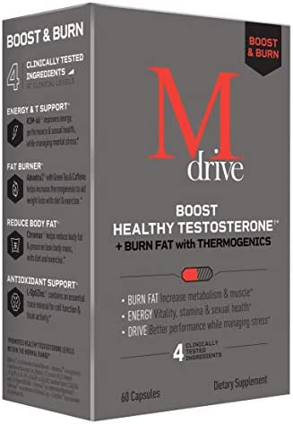Mdrive Boost and Burn for Men, Zinc, KSM-66 Ashwagandha, Cordyceps, Advantra Z, Chromax – Natural Energy, Strength, Stress Relief, Lean Muscle, 60 Capsules