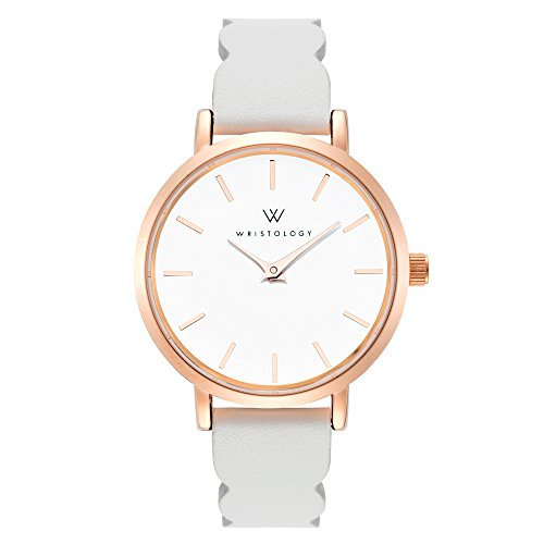 - WRISTOLOGY Charlotte Petite Womens Watch Rose Gold Grey Scallop Leather Ladies Changeable Strap Band