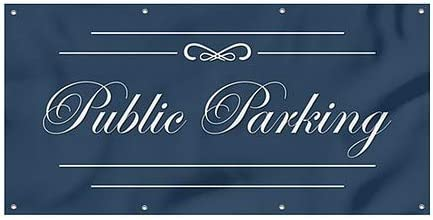 8x4 Public Parking Classic Navy Heavy-Duty Outdoor Vinyl Banner CGSignLab