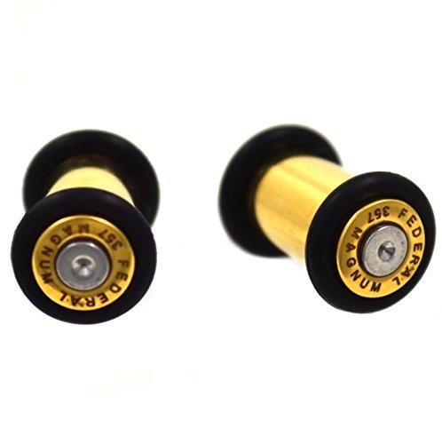 Pair of Gold IP Plated Steel Bullet Ear Plugs No Flare Gauges w/2 Black O-Rings - 2 Gauge 6mm