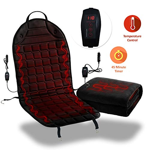 Zone Tech Car Travelling Heating Set - 12V Premium Quality Classic Black Car Heated Seat Cover Cushion Hot Warmer and Heated Travel Blanket Perfect for Cold Weather and Winter Driving