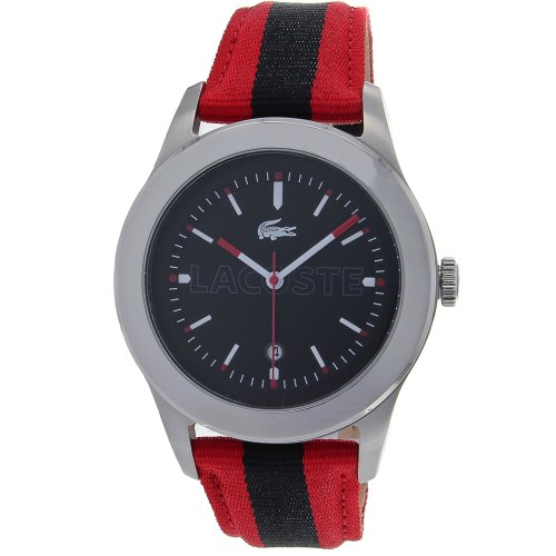 Lacoste Advantage Black Dial Red and Navy Stripe Grosgrain Mens Watch 2010614