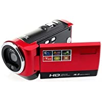 Hitech 16mp Digital Video Camcorder with 16x Zoom and 2.7-Inch TFT LCD Screen Bundle with Silicon Bracelet (Red)