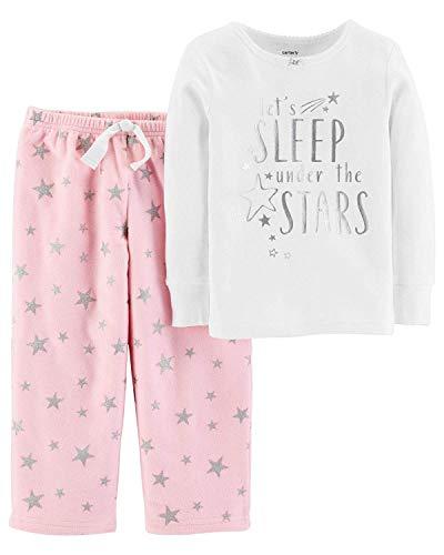 Carter's Little Girls' 2-Piece Fleece Christmas PJs (7, Foil Star)