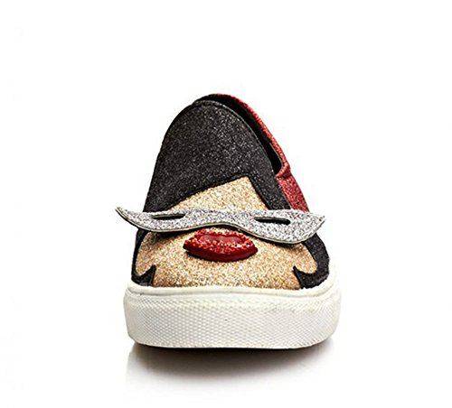 Aisun Women's Trendy Colour Block Sequins Cartoon Pattern Sneakers Skateboarding Shoes Red 5 UK