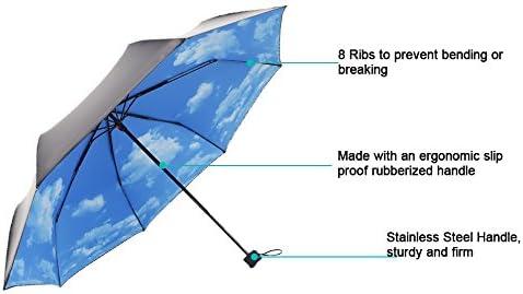 ColorDrip Ciel Bleu Nuages Blancs Pliantes Voyage Parapluie