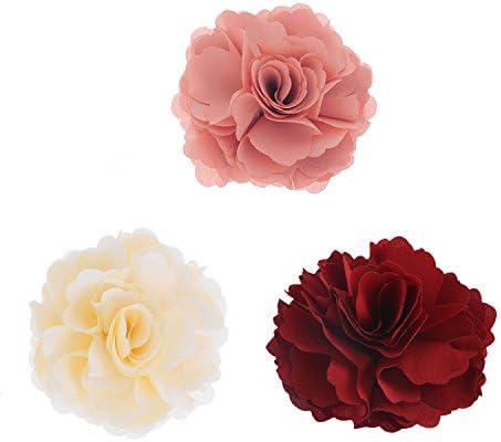 2way バラ 花 ブローチ コサージュ クリップ 髪飾り ヘッドドレス ウエディング パーティ ヘアアクセサリー (レッド+ピンク+ベージュ)